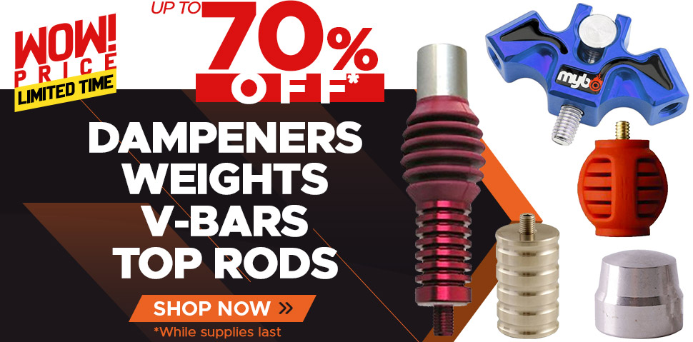 Dampeners, Weights, V-Bars and Top Rods Up To 70% Off