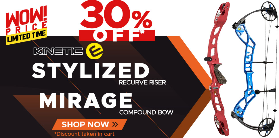 Kinetic Stylized Recurve Riser and Mirage Compound Bow - 30% Off